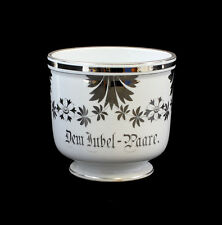 99840143 Porcelain Flower Pot Silver Wedding Probably Silesia um 1900