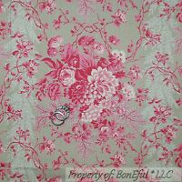 BonEful Fabric FQ Cotton Quilt VTG Gray Pink Rose Flower S Victorian Shabby Chic