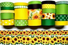 Grosgrain Ribbon 24 Yds Mixed Lot Sunflowers Flowers Printed. Ref04