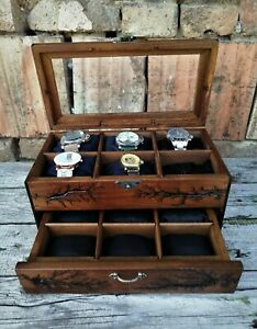 Wood Watch Box 12 Compartments Display Top Glass Case Lichtenberg Figure