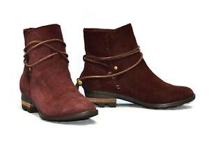 B0 NEW SOREL Farah Burgundy Waterproof Suede Tasseled Ties Ankle Boot Shoes Sz 6