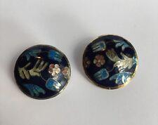 Vintage Copper Blue Cloisonné Enamel Floral Design Clip On Disk Earrings