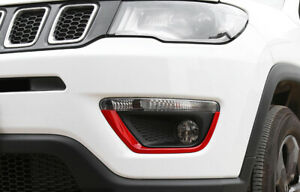 For Jeep compass 2017-2020 ABS red front bumper Fog Light Lamp strip trim 2pc