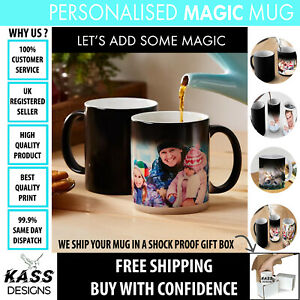 Personalised Magic Mug Wow Magic Cup Black Heat Colour Changing Tea Coffee Gift