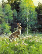 Excellent oil painting lovely animal rabbit hare in spring field hand painted