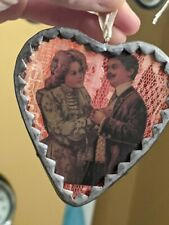 Vintage Look Heart Valentine Card Love Soldered Glass Metal Lace Ornament Couple