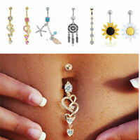 Crystal Body Jewelry Tongue Eyebrow Lip Belly Navel Ring Dangle DropPiercing Bar