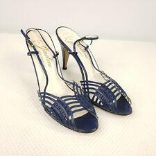Vintage 70s Garolini Ladies High Heels Navy Blue Open Toe Sling Back Shoes 7 N