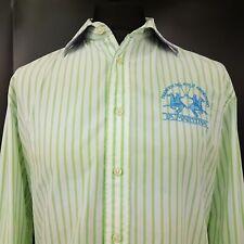 LA MARTINA Mens POLO SHIRT LARGE Long Sleeve Green Regular Fit Striped Cotton