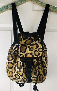 "Lesportsac Drawstring Backpack Animal Print Black/Brown 12"""