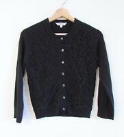LK Bennett Size XS Black Wool Mohair Cotton Lace Button Down 3/4 Sleeve Cardigan