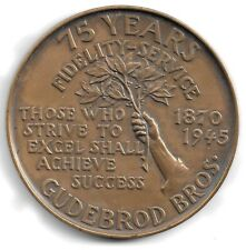 New listing * Rare Vintage 1945 Gudebrod 75th Anniversary Bronze Medallion New Nice *