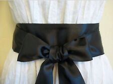 NEW PLAIN BLACK SATIN SASH FABRIC WRAP AROUND BELT SELF TIE BOW UPDATE DRESS