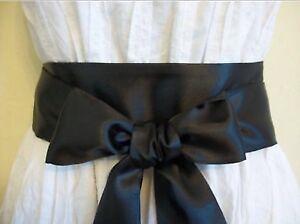 NEW PLAIN BLACK SATIN SASH FABRIC WRAP AROUND BELT SELF TIE BOW UPDATE DRESS