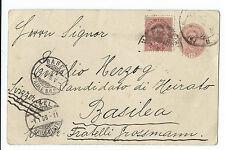 FRANCOBOLLI 1896 REGNO CARTOLINA POSTALE 10+10 CENTESIMI PER BRESCIA D/3402