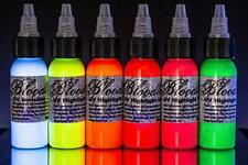 Bloodline 6 Color Tattoo Black Light UV Ink Highlight Set (1/2 oz) Made in USA
