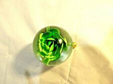 "Green flower in glass on gold stand home - office decor, 3"" tall X 4"""
