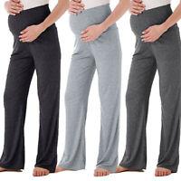 Womens Summer Mom Maternity Wide Leg Straight Pants High Waist Pregnancy Trouser
