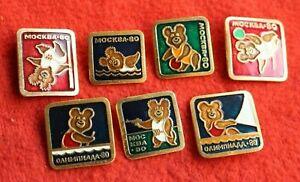 1980 Moscow Russian Olympic Games, Misha Bear Mascot badge set 7pcs