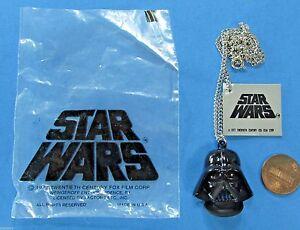 PENDANT necklace '77 vtg DARTH VADER Factors - Bag & Tag - Star Wars