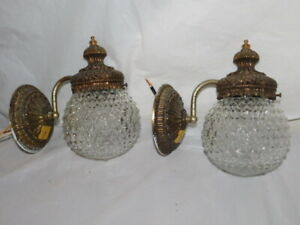 Hollywood Regency salvaged wall lamps sconces glass Mid Century Modern lights