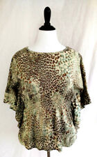 Cato Womens Blouse Top L Beige Brown Green Glitter Dolman Jersey Knit Leopard