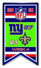 2021 Semaine 4 Bannière Broche NFL New York Giants Géants Vs. Neuf XXL Super Bol