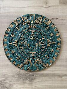 "Mayan Aztec Sun Calendar Green Stone Mexican Wall Art with Gold 10 1/4"""