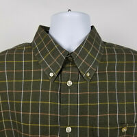Orvis 100% Cotton Mens Dark Green Check Flannel Dress Button Shirt Size XL