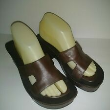 Enzo Angiolini Sandals Brown Casual Leather Wedge Platform Shoes Size 8.5 M