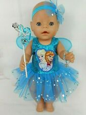 "Dolls clothes for 17"" Baby Born doll~FROZEN SISTERS TURQUOISE FAIRY WING DRESS~"