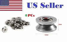 8pcs V624ZZ 624VV V Groove Guide Pulley Rail Ball Bearings Metal (4mm*13mm*6mm)