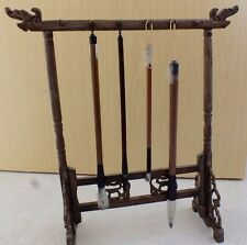 CHINESE WOODEN DRAGON STAND REST FOR 12 PAINTING WRITING SUMI BRUSH JAPANESE A4