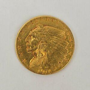 1914-D $2.5 Indian Head Quarter Eagle Gold Coin AU Pre-1933 USA