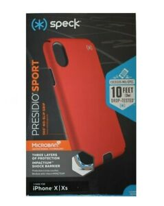 Speck Presidio SPORT Case for Apple iPhone X and XS - Black/Poppy Red NEW