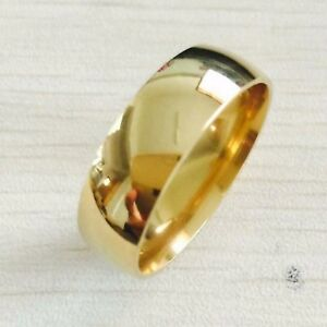 High Polish Wide 8mm Men Women Wedding Rings Real 22K Gold Filled 316L Titanium