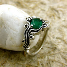 1.6CT Emerald Women Men 925 Silver Ring  Vintage Wedding Engagement Size 6-10