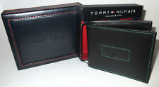 MENS TOMMY HILFIGER BIFOLD BLACK FIXED PASSCASE WALLET WITH ORIGINAL GIFT BOX
