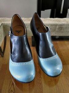 Womens John Fluevog Bellevues Ella Baker Blue Brogued Heel With Cutout 11