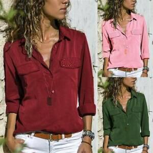 Damen Langarm Bluse Business T-Shirt Tops Freizeithemden Oberteile Übergröße DE