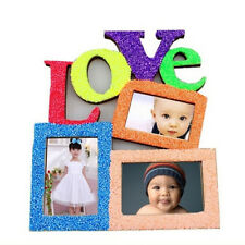 Hollow Love Wooden Family Photo Picture Frame White Base Art DIY Home Decors