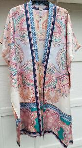 $169 Chico's Women's Medallion Print Silk Oversized Ruana Wrap Multi NWT
