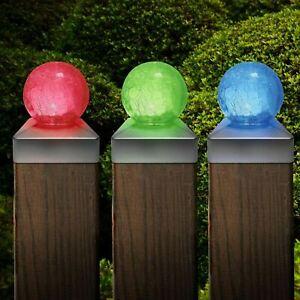 SOLAR CRACKLE GLASS BALL GARDEN POST DECK CAP LIGHT SQUARE OUTDOOR FENCE LIGHTS