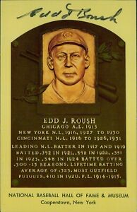 Edd Roush Signed Hall of Fame Cooperstown Plaque Postcard JSA Authenticated