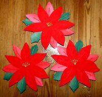 Christmas Decoration Applique POINSETTIA Red Lot of 3 RANA'S USA SELLER