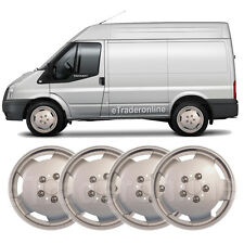 "4 x Ford Transit Wheel Trims 15"" Silver Deep Dish Hub Caps Bulbous Van Trim Set"