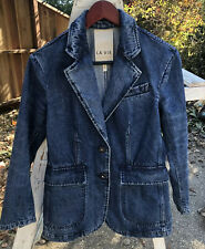 La Vie Denim Blazer Jacket Rebecca Taylor Flap Pocket Buckle Tab Size XS Coat