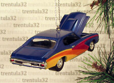 '70 CHEVY CHEVELLE SS 1970 CHEVROLET BLUE YELLOW CHRISTMAS TREE ORNAMENT XMAS