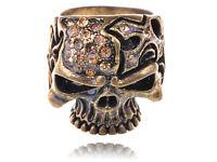 Gothic Design Brass Tone Cute Rhinestone Skull Ring Halloween Party Jewelry Gift