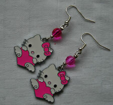 Handmade silver plated Hello Kitty earrings dark pink crystals free stoppers K03